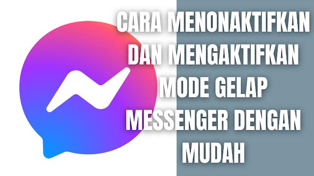 """Cara Menonaktifkan dan Mengaktifkan Mode Gelap Messenger Dengan Mudah Di dalam menonaktifkan dan mengaktifkan mode gelap pada messenger, bisa dilakukan melalui perangkat Komputer, Android, iPhone, dan iPad. Untuk bisa melakukannya silahkan ikuti cara-cara berikut.  Cara Menonaktifkan dan Mengaktifkan Mode Gelap Menggunakan Komputer Untuk menonaktifkan dan mengaktifkan mode gelap menggunakan komputer, silahkan untuk mengikuti langkah-langkah berikut :  Klik foto profil Anda di kiri atas, lalu klik """"Preferensi"""". Klik """"Tampilan"""". Di bawah """"Tema"""", klik """"Preferensi Sistem Cermin"""", lalu pilih """"Kontras Tinggi (Gelap)"""". Untuk kembali, klik """"Kontras Tinggi (Gelap)"""", lalu pilih """"Preferensi Sistem Cermin"""".    Cara Menonaktifkan dan Mengaktifkan Mode Gelap Menggunakan Android Untuk menonaktifkan dan mengaktifkan mode gelap menggunakan android, silahkan untuk mengikuti langkah-langkah berikut :  Dari """"Obrolan"""", ketuk foto profil Anda di kiri atas. Ketuk """"Mode Gelap"""", lalu ketuk """"Aktif atau Nonaktif"""".    Cara Menonaktifkan dan Mengaktifkan Mode Gelap Menggunakan Ipad Untuk menonaktifkan dan mengaktifkan mode gelap menggunakan ipad, silahkan untuk mengikuti langkah-langkah berikut :  Dari """"Obrolan"""", ketuk foto profil Anda di kiri atas. Ketuk """"Mode Gelap"""", lalu ketuk """"Aktif atau Nonaktif"""".    Cara Menonaktifkan dan Mengaktifkan Mode Gelap Menggunakan Iphone Untuk menonaktifkan dan mengaktifkan mode gelap menggunakan iphone, silahkan untuk mengikuti langkah-langkah berikut :  Dari """"Obrolan"""", ketuk foto profil Anda di kiri atas. Ketuk """"Mode Gelap"""", lalu ketuk """"Aktif atau Nonaktif"""". NB : Untuk informasi lebih lanjut silahkan kunjungi """"facebook.com/help""""    Nah itu dia bagaimana cara untuk menonaktifkan dan mengaktifkan mode gelap messenger dengan mudah. Melalui bahasan di atas bisa diketahui cara-cara menonaktifkan dan mengaktifkan mode gelap messenger sesuai dengan perangkat yang sedang digunakan. Mungkin hanya itu yang bisa disampaikan di dalam artikel ini, mohon maaf bila terjadi k"""