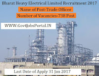 BHEL Recruitment For 738 Various Posts 2017