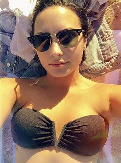 Demi Lovato in Strapless Bikini