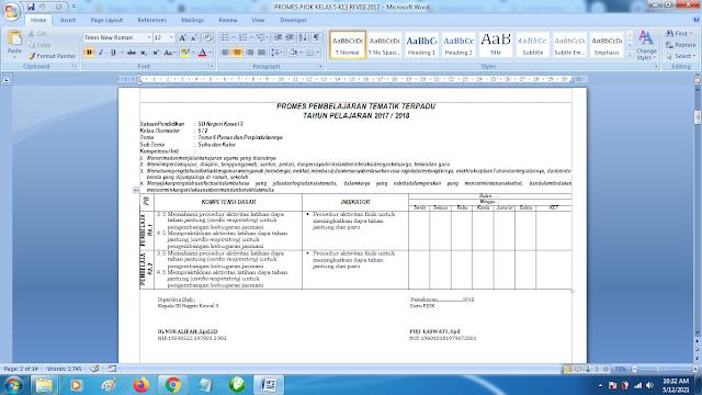 Contoh Promes PJOK Kelas 5 SD Semester 2 Kurikulum 2013 Revisi Terbaru