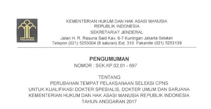 Penting !! Berikut Perubahan Tempat Pelaksanaan Seleksi CPNS Kemenkumham