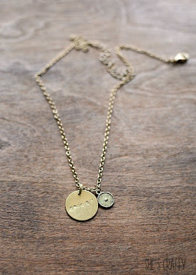 gold necklace, stamped metal necklace