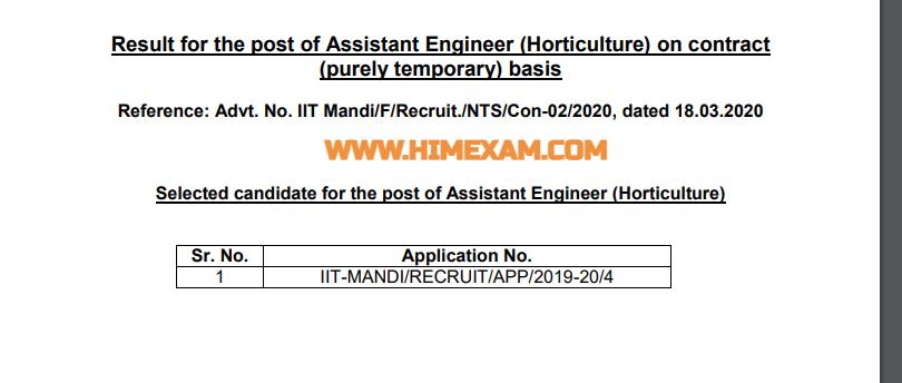 IIT Mandi Assistant Engineer (Horticulture) Result 2021