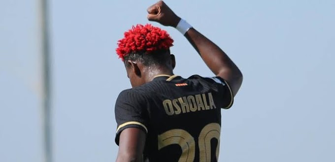 Oshoala celebrates first goal of season with #EndSARS fist
