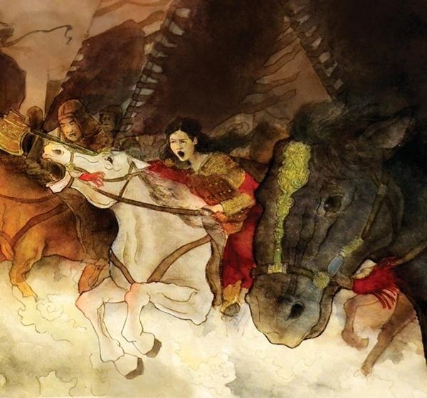 Pintura representando Lady Fu Hao em batalha