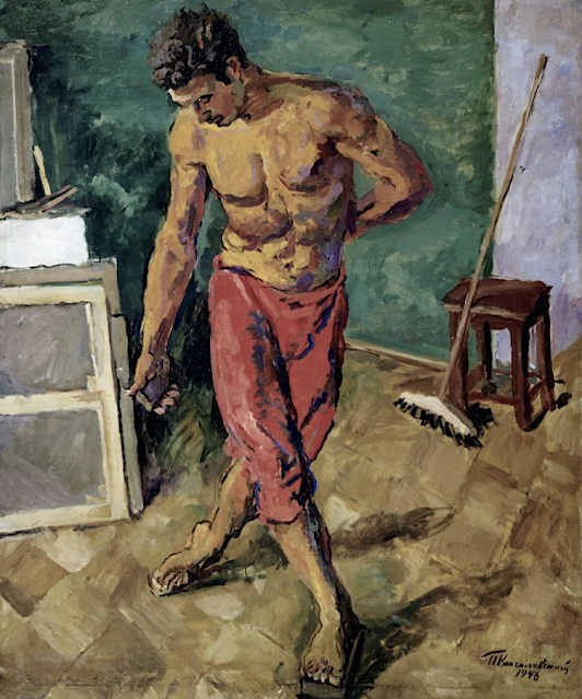 Pyotr Konchalovsky  (1876-1956, Le polisseur de parquet  (Полоторы) Huiie sur toile, 1946 Tretyakov Gallery
