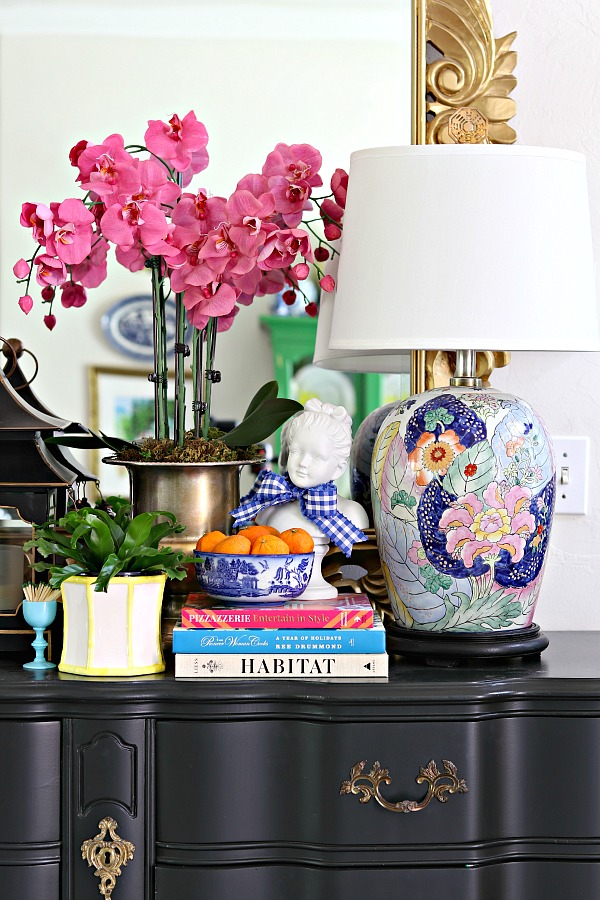 DIY Faux Orchid Arrangment, hot pink orchids, entry table styling, entry table decoration ideas