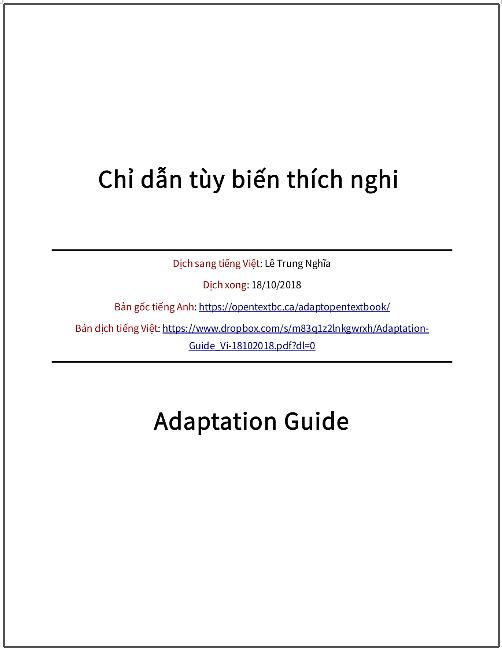 'Chỉ dẫn tùy biến thích nghi' (sách giáo khoa mở) - bản dịch sang tiếng Việt