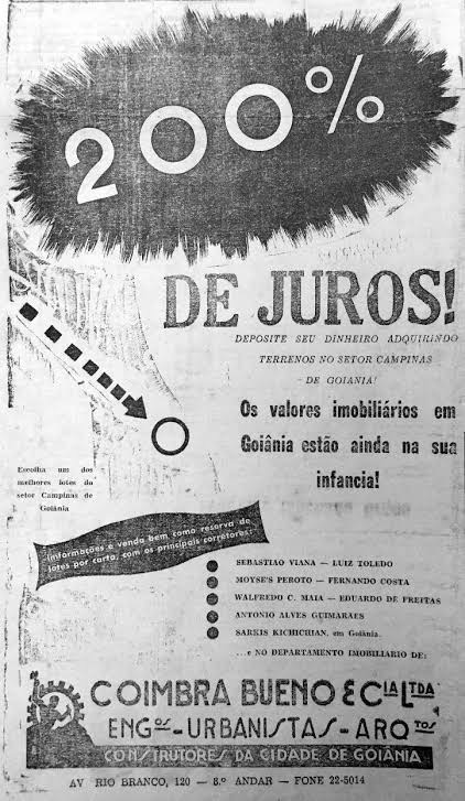 Cartaz com ofertas de lotes na nova capital de Goiás em 1930