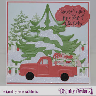 Stamp/Die Duos: Deer Ornament (sentiment)  Paper Collection: Christmas 2018 Custom Dies: Pickup Truck, Curvy Slopes, Fence, Vintage Label, Christmas Tree Table Top Home Decor