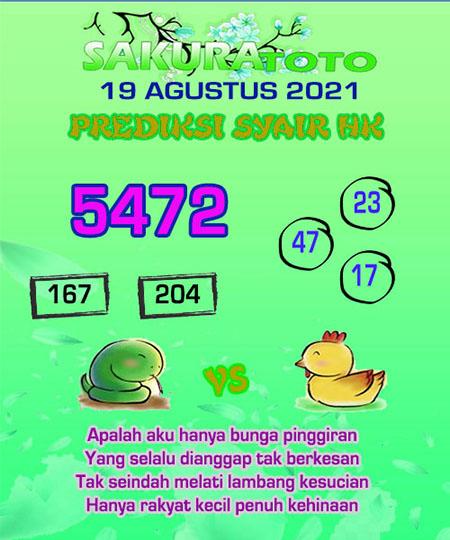 Syair HK Kamis 19 Agustus 2021 -