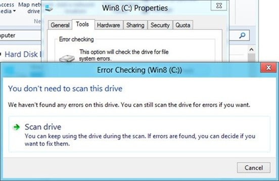 Check Drive Error in windows 8