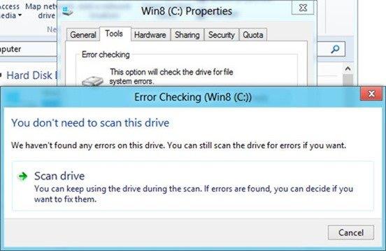 Check Drive Error in windows 8