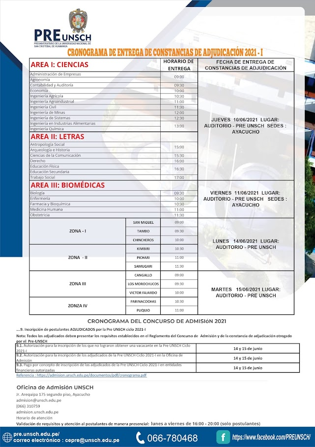 CRONOGRAMA DE ENTREGA DE CONSTANCIAS DE ADJUDICACIÓN 2021 - I