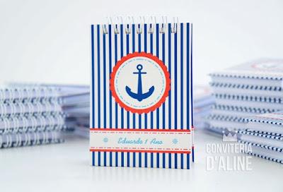 marinheiro caderneta lembrança personalizada