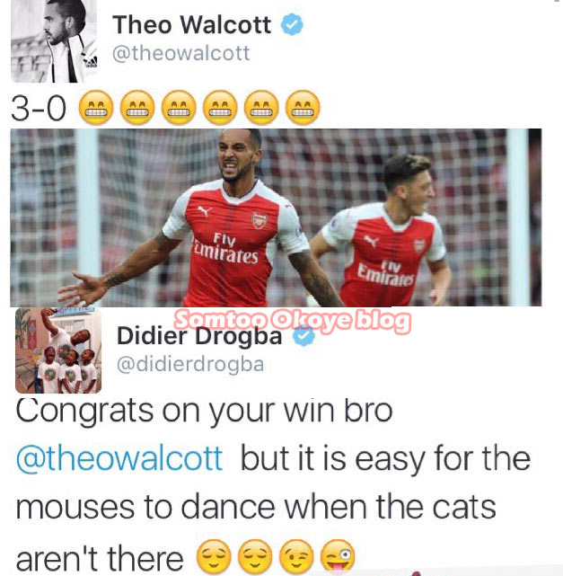 Didier Drogba trolls Theo Walcott over Arsenal deafeat of Chelsea