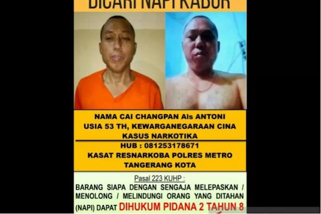 Sayembara! Tangkap Cai Changpan Buronan LP Tangerang Berhadiah Rp100 Juta
