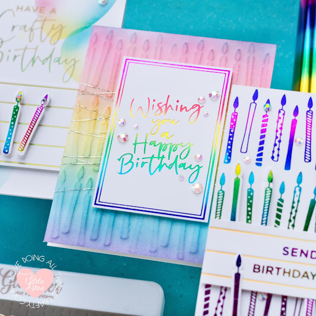 Foiled Rainbow Birthday Cards,#SpellbindersClubKits #NeverStopMaking, Spellbinders,Yana's Blooming Birthday Glimmer Collection,Card Making, Stamping, Die Cutting, handmade card, ilovedoingallthingscrafty, how to,Foil Stamping,