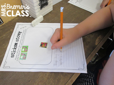 Fun writing center ideas and learning components including a thematic word wall, writing center stationery, labelling pages, writing prompts, sticker stories, writing lists, writing letters, write the room activities, and more. #writingcenter #2ngrade #writing #2ndgradewriting #1stgradewriting
