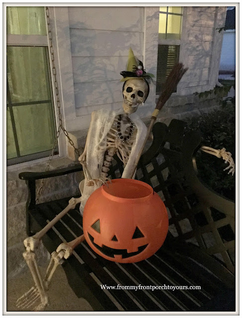 Halloween-Decorations-Front Porch Skeleton-Porch Swing-From My Front Porch To Yours