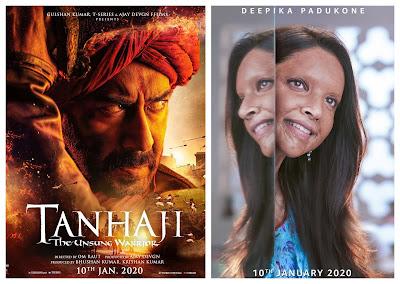 Chhapak will clash with Tanaji: The Unsung Warrior