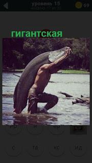 поймана гигантская рыба в рост человека на 15 уровне