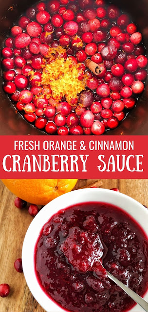 cranberries, orange zest and cinnamon cranberry sauce in a white bowl