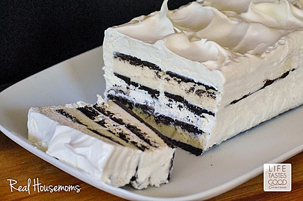 Easy Ice Cream Sandwich Cake   by Life Tastes Good is a chocolate and whipped cream dessert that only takes about 10 minutes to assemble! It is the easiest cake you'll ever make!