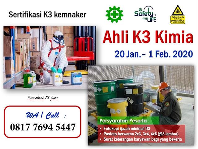 Ahli K3 Kimia kemnaker tgl. 20 Jan.-1 Feb. 2020 di Jakarta