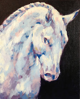 Keep on Dreaming, grey horse painting, equestrian art