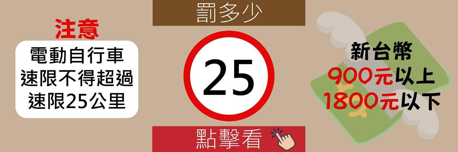 電動自行車罰款,超速25公里
