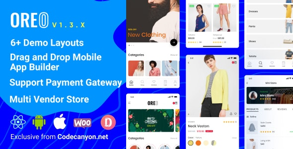 Download Oreo Fashion v1.3.0 - Full React Native App for Woocommerce