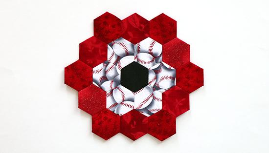 Hand Sewn EPP Hexagon Flower Block 11