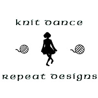 "Black on white: The logo has three horizontal sections. The top section is the words ""Knit Dance"". The center section is of three images, two stylized balls of yarn with the silhouette of an Irish dancer between them. The bottom section is the words ""Repeat Designs ""."