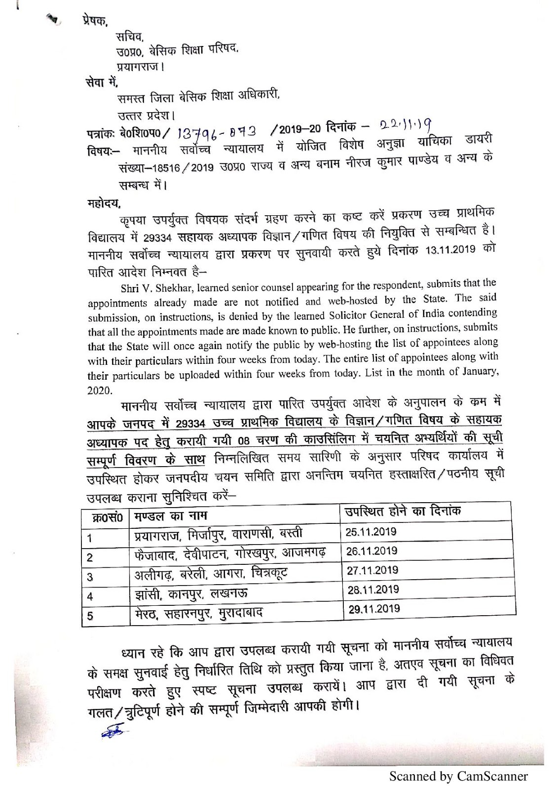 SC के आदेश के अनुपापन में 29334 गणित / विज्ञान भर्ती के 8 चरणों की काउंसिलिंग में चयनित अभ्यर्थियों की सूची उपलब्ध कराने के सम्बन्ध में