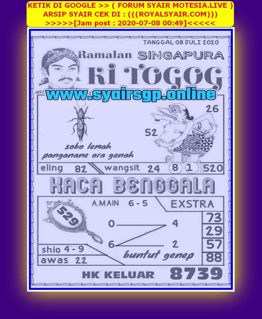 Kode syair Singapore Rabu 8 Juli 2020 187