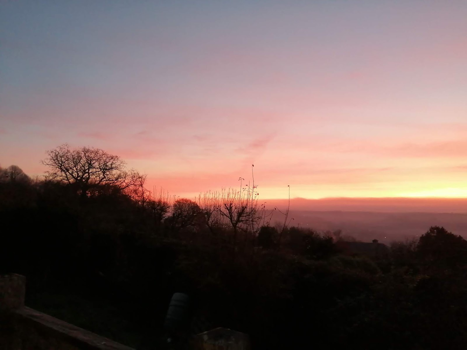 Pink sunrise in Cornwall