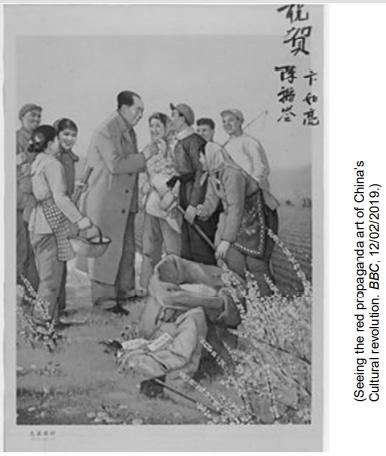 UNICAMP 2021: A imagem anterior circulou em 1964 e faz parte de um conjunto de propagandas do governo de Mao Tsé-Tung (1893- 1976). Sobre o cartaz e o contexto, é correto afirmar