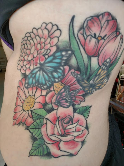 butterflies and flower tattoo