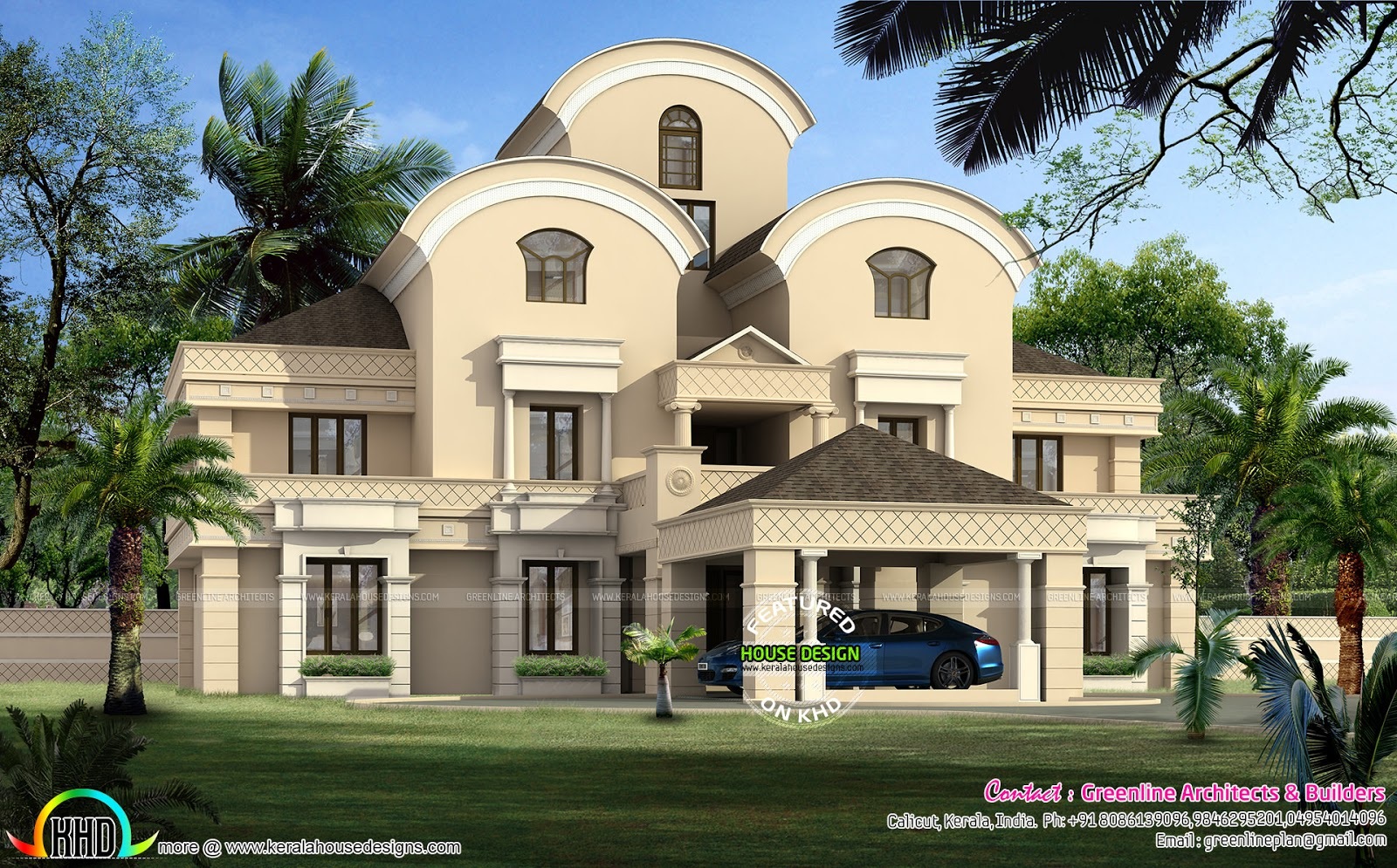 Luxury arabian style home design kerala home design and for Arabic home design