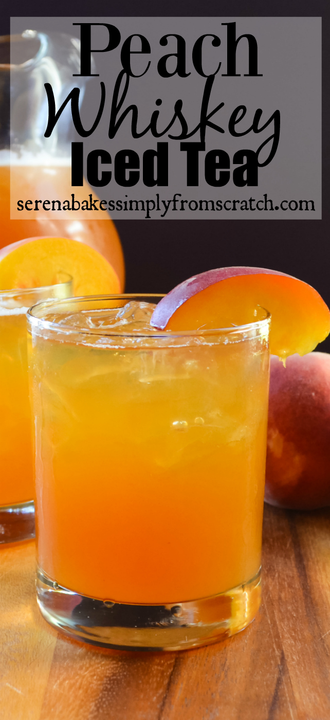 A glass filled with Whiskey Peach Iced Tea with a full pitcher in the background and black text Whiskey Peach Iced Tea at the top.