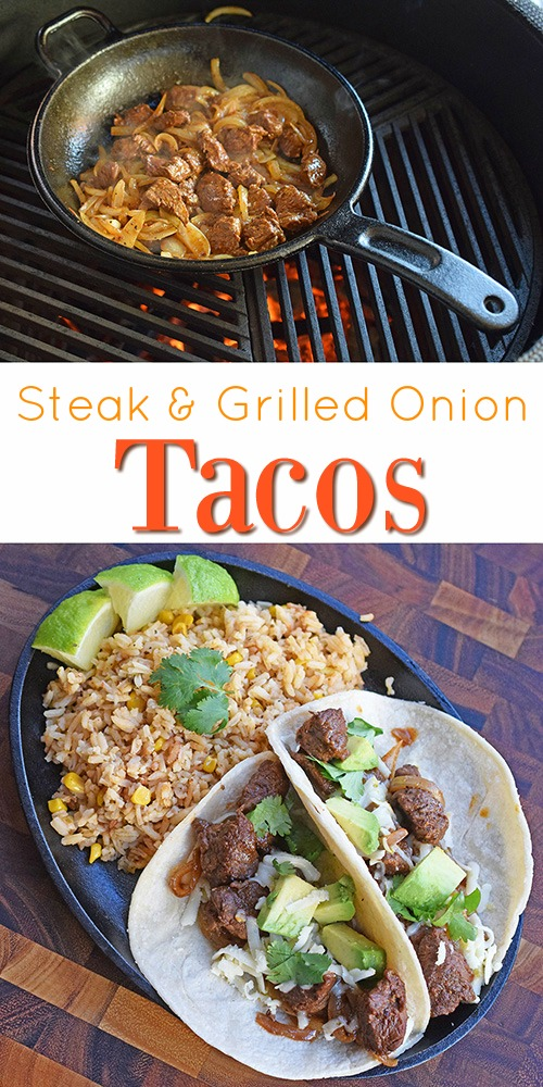 Steak and Grilled onion tacos