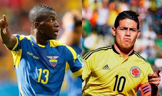 Ecuador vs Colombia en Eliminatorias Sudamericanas Mundial Rusia 2018
