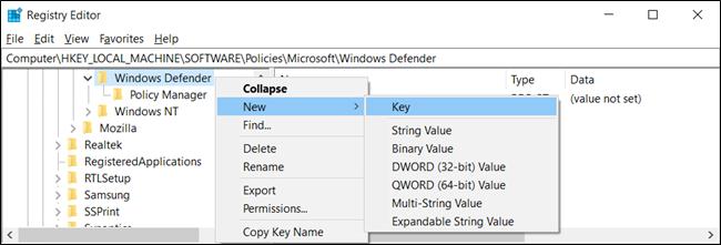 """إذا لم تشاهد مفتاح """"Scan"""" ، فانقر بزر الماوس الأيمن ، وحدد New> Key."""