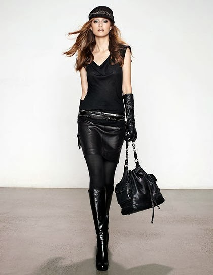 9cec4c74ce39a A knee-length leather skirt can be the perfect item for a night on the town  or, when paired with a blouse, a day at the office... especially with a  daring ...
