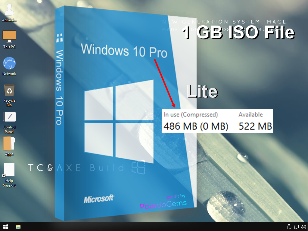 windows 10 super lite 400-500MB RAM 1GB iso file