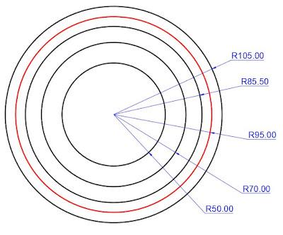Dibujo de círculos para el engranaje