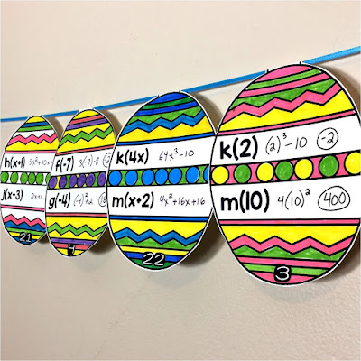 Easter Egg Math Pennant for Evaluating Functions