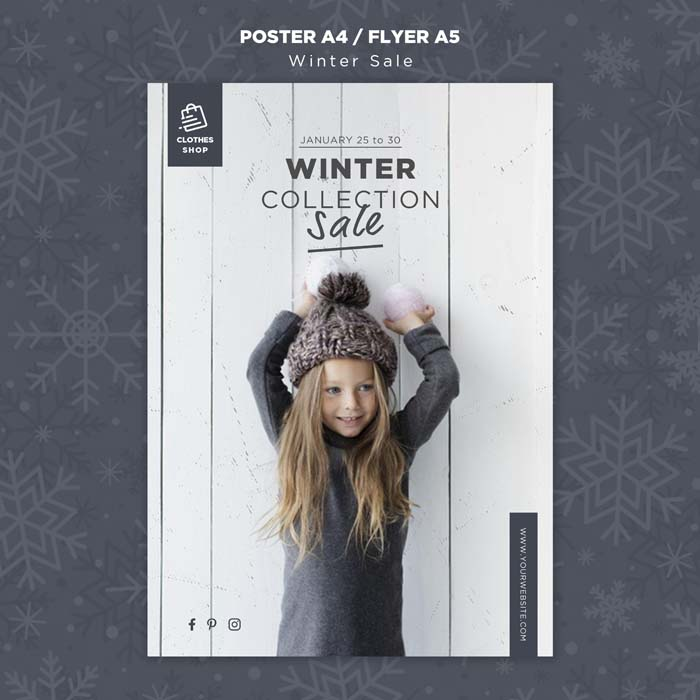 Cute Child Winter Collection Sale Poster Template