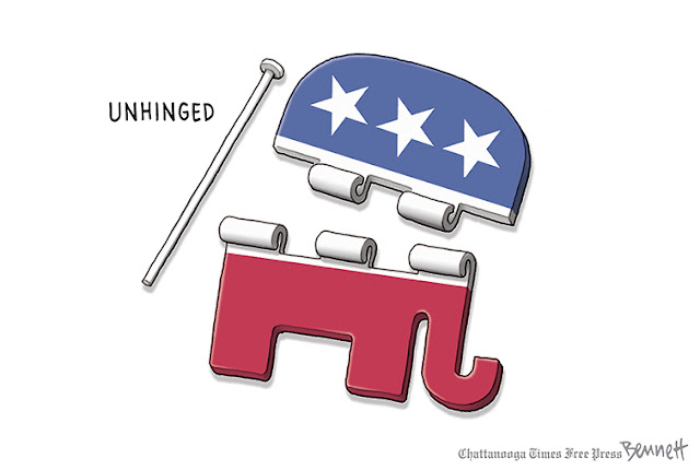 Title:  Unhinged.  Image:  GOP Elephant as a hinge with the hasp removed, so that it's in two pieces.